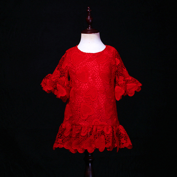 customized red heart soft mother daughter princess dress trumpet Sleeve children family clothes kids baby girl summer lace dress