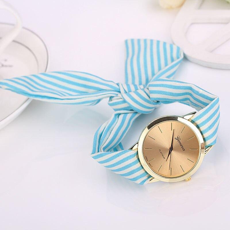Relojes Mujer 2017 Women's Striped Cloth Strap Wristwatch Women's Floral Bracelet Quartz Watch Women Clocks Relogio Wholesale