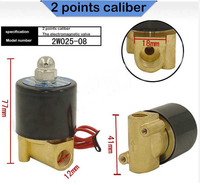 """صمام الملف اللولبي المغلق عادة 1/4 """", 3/8"""", 1/2 """", 3/4"""", AC220V, DC12V/24 V صمام الملف اللولبي الكهربائي صمام هوائي لزيت الماء الهواء NC"""