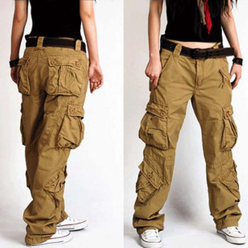 Men and Women Cargo Pants 8 Pocket Cotton Hip Hop Trousers Loose Baggy Military Army Tactical Pants Wide Leg Joggers Plus Size