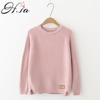 H SA 2017 Women Sweaters And Pullovers Oneck Casual Slim Korean Knitted Jumpers Side Split Long