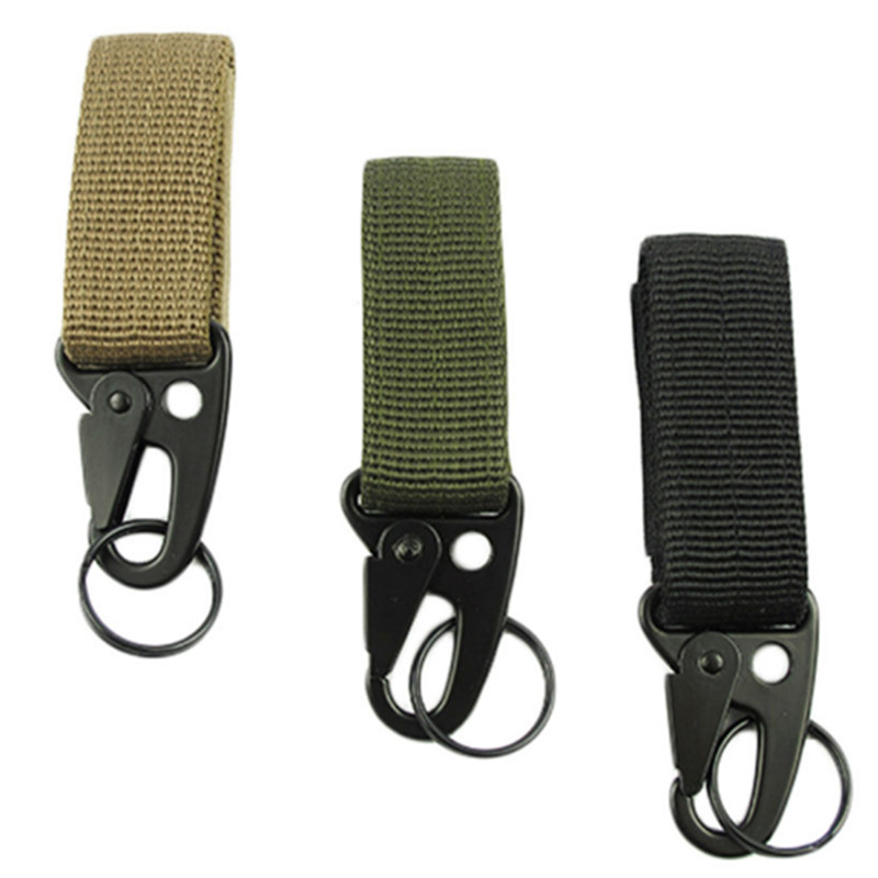 Outdoor Camping Military Tactical Nylon Belt Metal Hanging Carabiner Backpack Hook Clasp Survival Gear Keychain outdoor Tools|Outdoor Tools| |  - title=