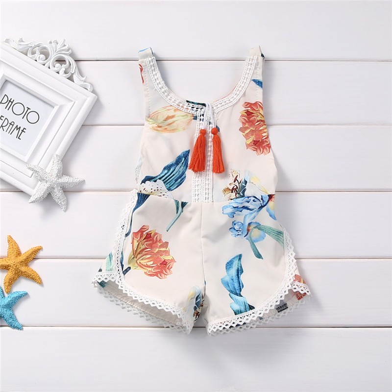 2018 Floral Baby Rompers Summer Cute Sunsuits Loose Leg Backless Jumpsuits Sleeveless Cotton Backless Outfits