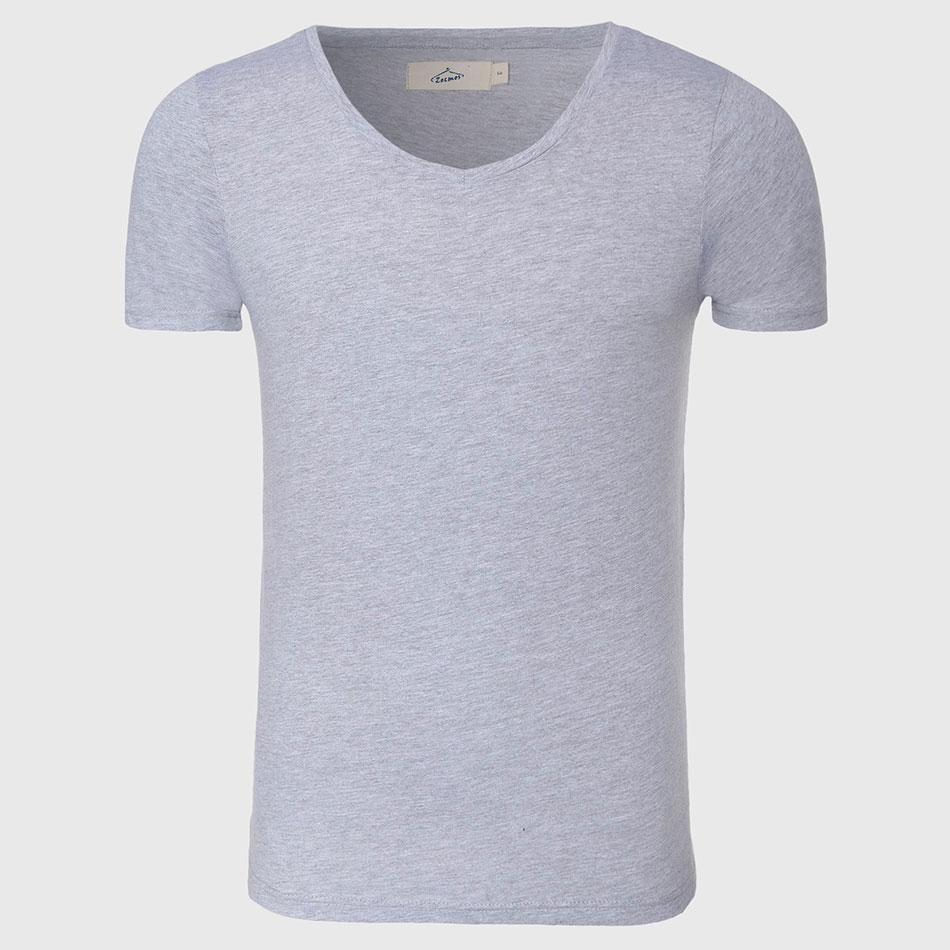 Plain White T Shirt Men Slim Fit T Shirt V Neck Men Top