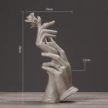 Modern Abstract Hands and Rose Sculpture Decoration