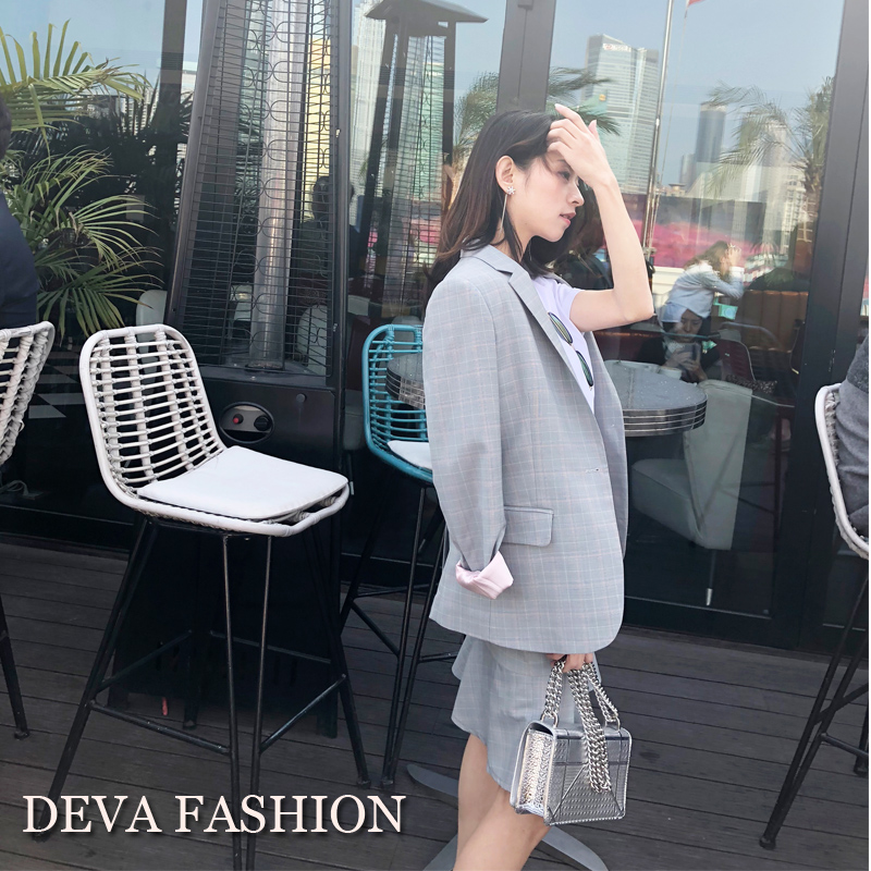 2018 Deva Fashion New Women Plaid Blazer Gray Plaid Office Lady Blazer Jackets Elegant Work Blazers Feminino Coat
