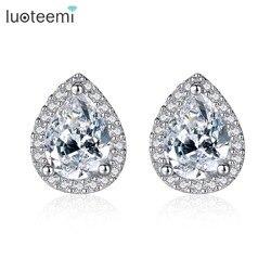 LUOTEEMI Brand 925 Sterling Silver Cubic Zircon Bridal Engagement Waterdrop CZ Stud Earrings For Women Wedding Jewelry Gift
