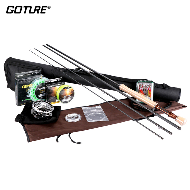 Goture Fly Fishing Set 2.7M 3.0M Fishing Rod Combo 5/6 7/8 CNC Fly Reel For Fishing Line With 16pcs Fly Flies peche