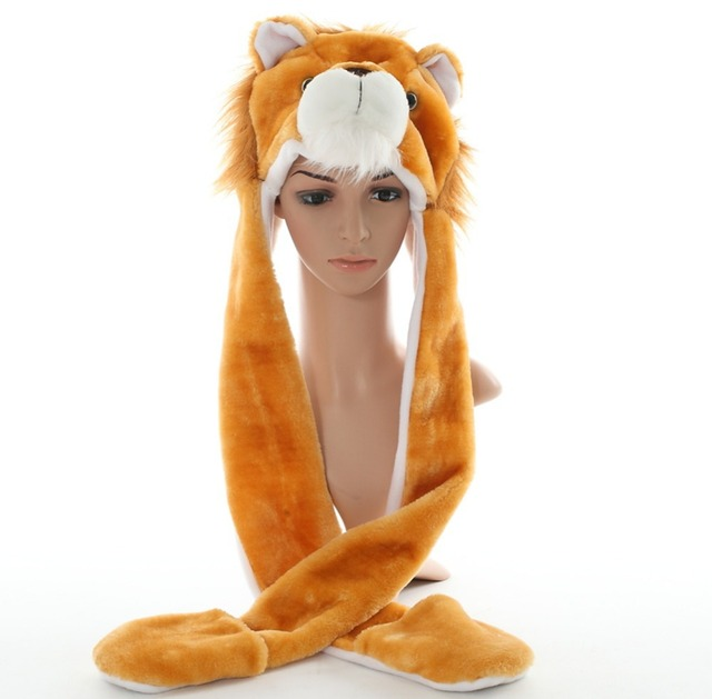 DOUBCHOW Cute Plush Animal Brown Lion Hats with Paws Gloves for Womens Mens  Teenagers Kids Boys Girls Winter Cosplay Warm Beanie 9cc6015815cd