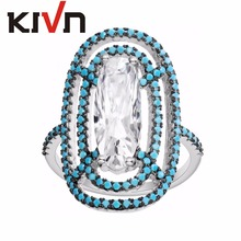 KIVN Fashion Jewelry Luxury Pave Blue CZ Cubic Zirconia Wedding Bridal Engagement Rings for Women Birthday Christmas Gifts