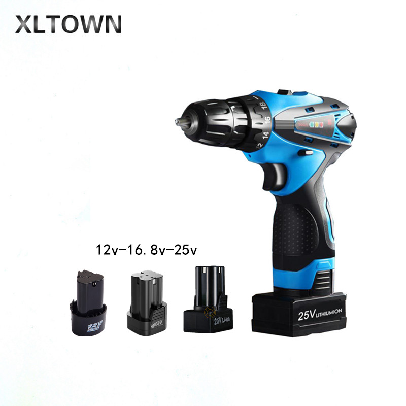 все цены на Xltown 12/16.8/25v cordless electric drill with 2 battery two-speed electric screwdriver household lithium battery power tools онлайн