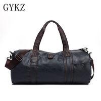 GYKZ Vintage Leather Men Travel Shoulder Bag Large Capacity Men Gym Bag Korea Style Fitness Bag