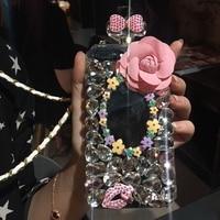 Para o iphone 6 6 s 7 mais 8 X cristal Moda de Luxo Frasco de Perfume de flor de diamante arco lábios espelho brilho tampa da caixa de telefone colhedor