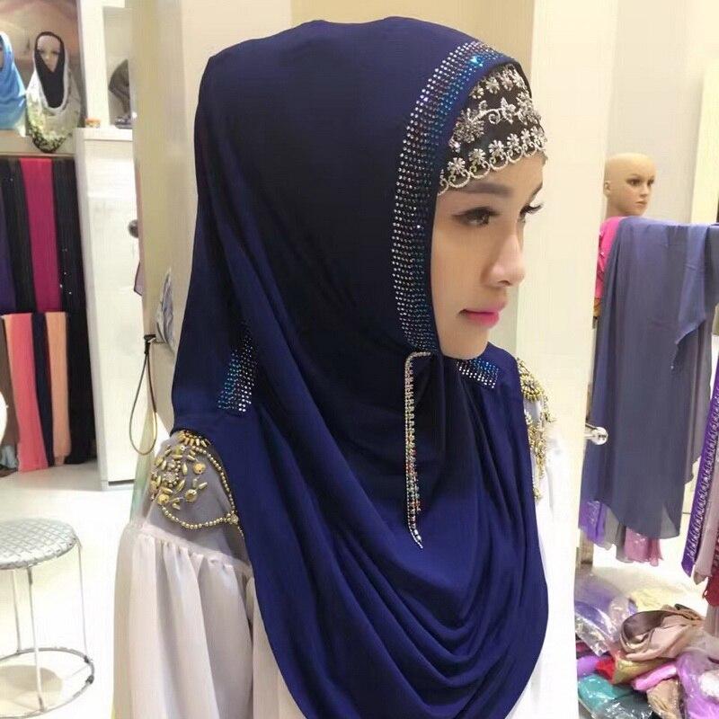 Fashion Diamonds Muslim Scarves Woman Scarf Solid Color Shining Sequins Chiffon Silk Popular Shawls Headband Free Shipping