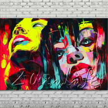 Palette knife portrait Face Oil painting Character figure canvas Hand painted Francoise Nielly wall Art picture 113
