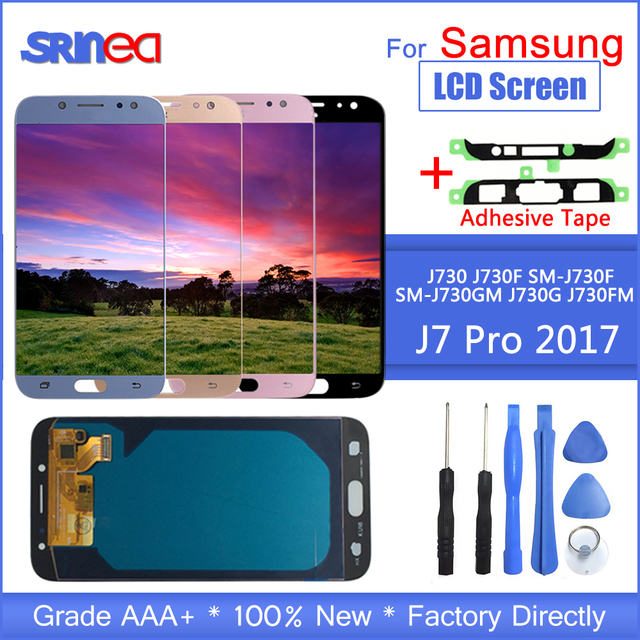 Para Galaxy J7 2017 pantalla táctil J730 J730f Lcd para Samsung J7 Pro pantalla digitalizador montaje ajustable con herramientas adhesivas