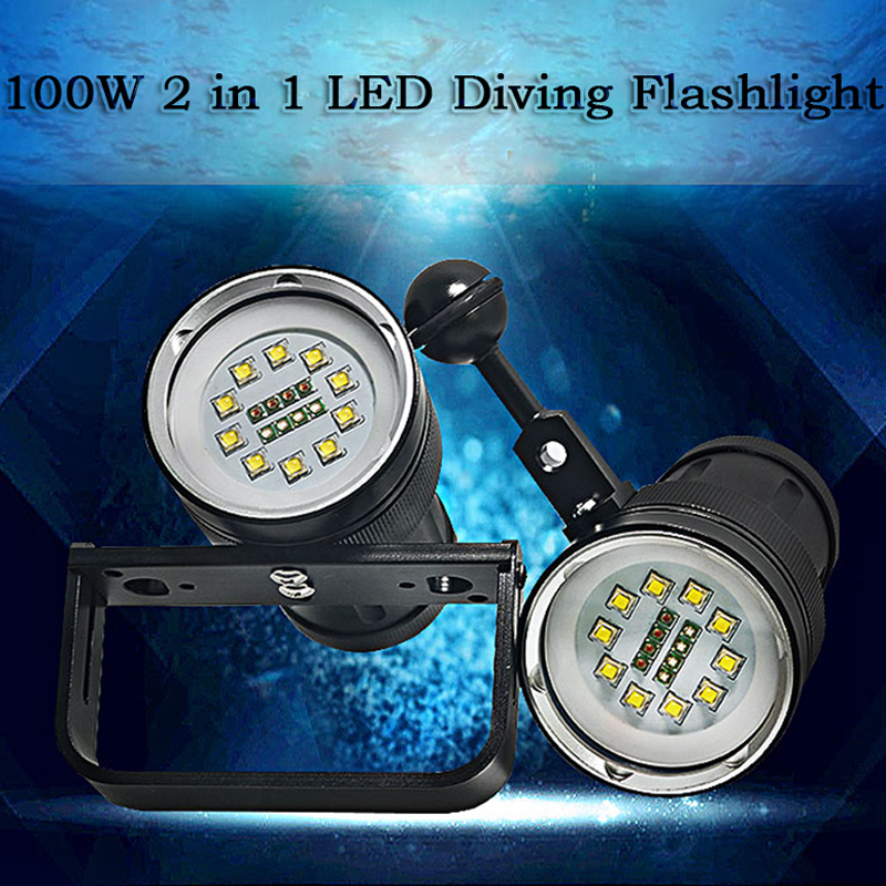 2 in 1 30000 Lumens CREE 10*XM-L2 Diving Flashlight 500 meters Underwater Diving Torch Waterproof Flashlight for Photography underwater 100m diving flashlight 8000 lumen 5x cree xm l l2 dive lamp torch for outdoor diving