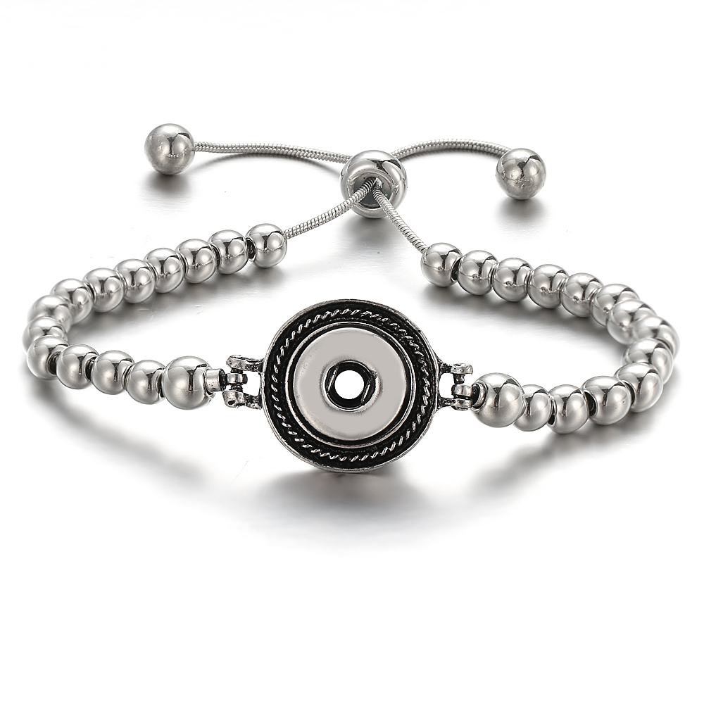 New 12MM Snap Button Bracelet Handmade Imitation CCB Beads Snap Bracelet Adjustable Elastic DIY Charm Bracelets Bangle image