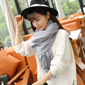 2017 cor Pura imitação cashmere cachecol feminino xale grande dual-uso de inverno longo cinza cachecol quente