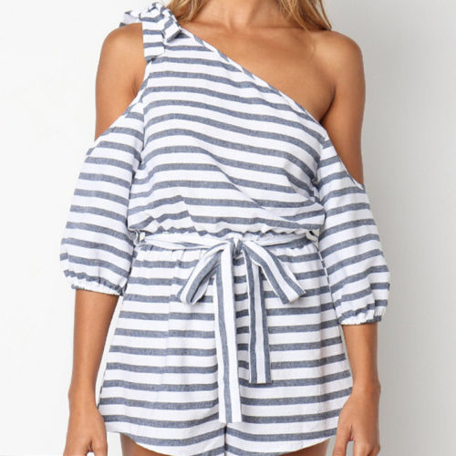 Off shoulder Striped sexy dress Elegant Half sleeve Stripe party summer mini dress vestidos clothing