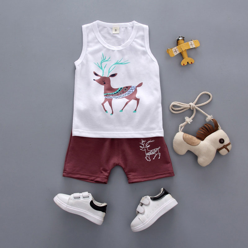 Summer Casual Top+ Pant 2pcs Infant Clothing Cartoon Reindeer Print Set Newborn Solid Sleeveless Baby boy Stripe Set Clothes