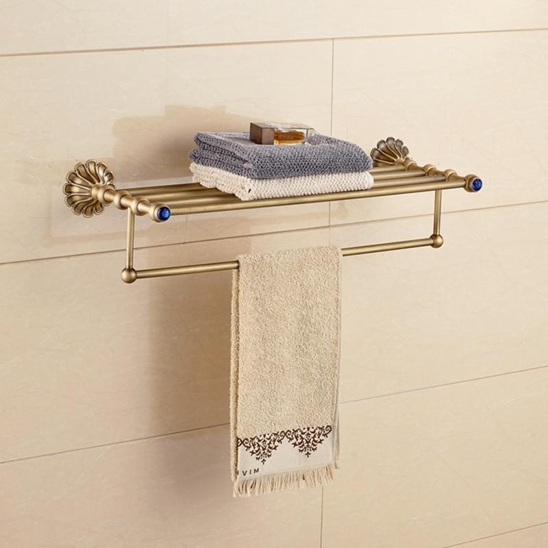 Antique Brass Bathroom Shelf Wall Mounted Towel Storage Holder W ...