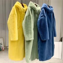 Autumn Winter Mink Women Fur Coat Clothes Plus Size Korean Faux Fur Streetwear Hooded Loose Thick Warm Long Coat Female