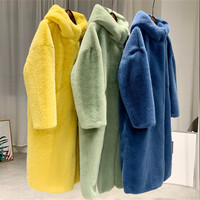 Autumn Winter Mink Women Fur Coat Clothes Plus Size Korean Faux Fur Coat Streetwear Hooded Loose Thick Warm Long Coat Female