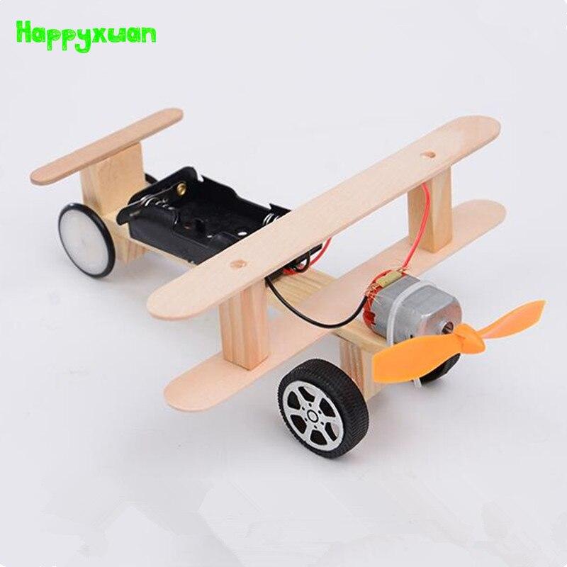 Happyxuan DIY Wind Power Glide Plane Model Kit Wood Kids Physical Science Experiments Toy Set Preschool Educational