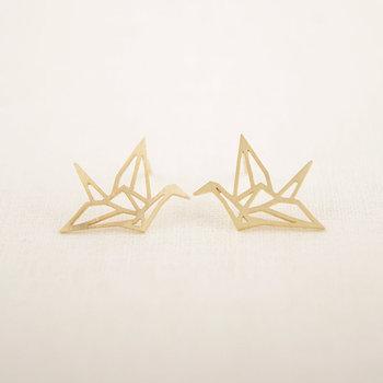 Jisensp New Fashion Wholesale Jewelry Wild Origami Crane Earrings for Women Vintage Cute Animal Bird Stud Earrings Pendientes