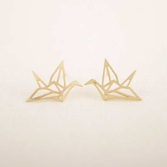 Jisensp New Fashion Wholesale Jewelry Wild Origami Crane Earrings for Women Vintage Cute Animal Bird Stud Earrings Pendientes