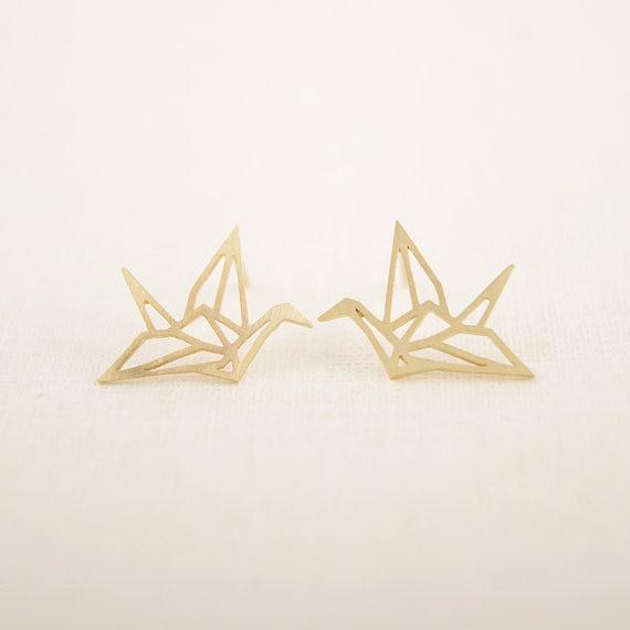 Jisensp Mới Thời Trang Sỉ Trang Sức Hoang Dã Origami Cần Trục Bông Tai Nữ Vintage Động Vật Dễ Thương Chim Bông Tai Đinh Pendientes