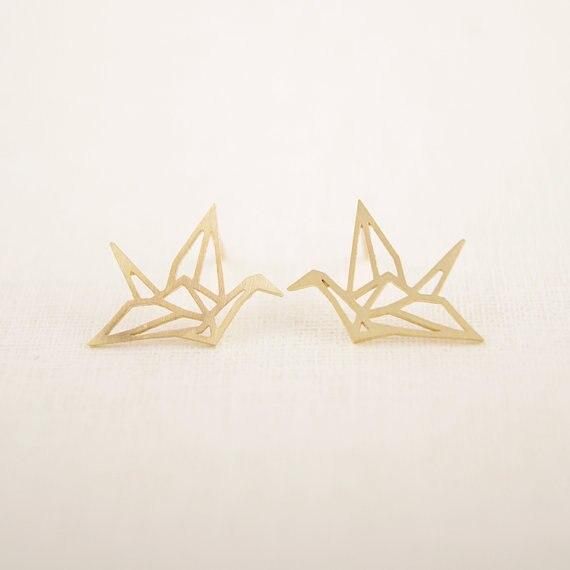Jisensp Nuovo Commercio All'ingrosso Dei Monili di Modo Selvaggio Origami Crane Orecchini per Le Donne Vintage boucle d' oreille femme 2017 E037