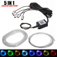 4 5x 6 2M Sound Active EL Neon Strip Light RGB LED Car Interior Light Multicolor