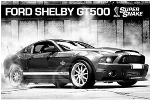 Cars Poster Ford Mustang Shelby Gt500 Supersnake Cartoon Poster Game