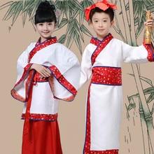Niños Traje Tradicional Chino Antiguo Estudiante Chica Chino Tang Traje de la Danza Rendimiento Ropa Boy Traje Popular 89