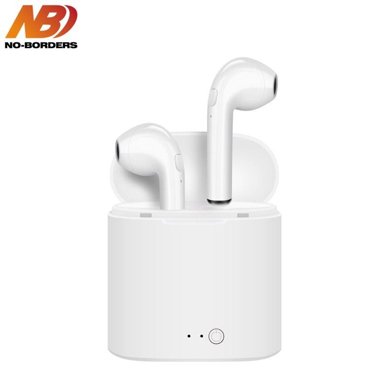 NÃO-FRONTEIRAS i7s TWS Mini Fone De Ouvido Sem Fio Bluetooth Fone de Ouvido Estéreo Fones de Ouvido fone de Ouvido Com Microfone Para O Telefone de Carregamento da Caixa não airpods