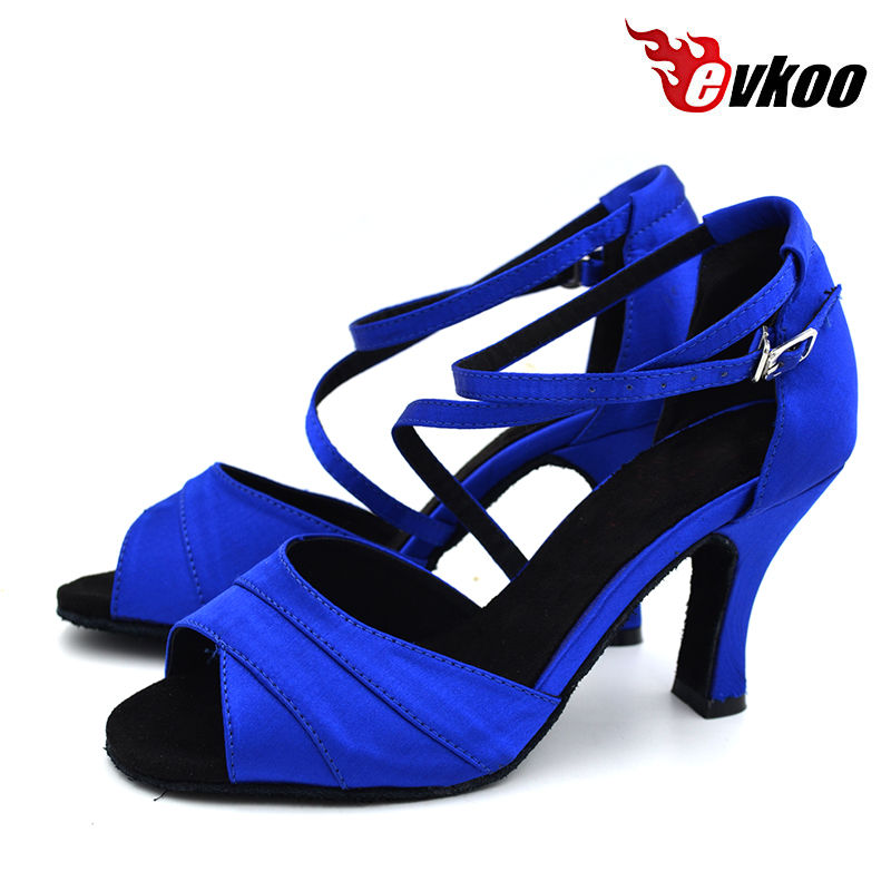 Evkoodance Size US 4-12 Dancing Shoes Professional Blue Satin Salsa Dance Shoes For Girls 8cm Heel Height Evkoo-429 цены онлайн