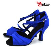 Evkoodance Size US 4-12 Dancing   Shoes   Professional Blue Satin Salsa   Dance     Shoes   For Girls 8cm Heel Height Evkoo-429
