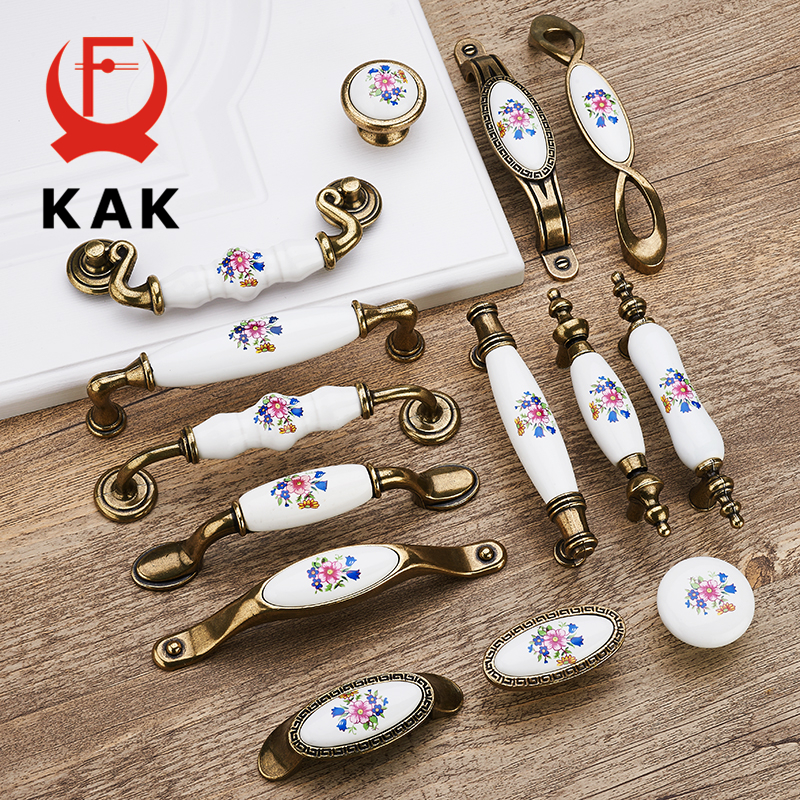 KAK Antique Bronze Ceramic Cabinet Handles Zinc Alloy Drawer Knobs Wardrobe Door Handles Morning Glory European Furniture Handle hot 10pcs furniture handles european antique zinc alloy drawer cupboard kitchen cabinet door handles