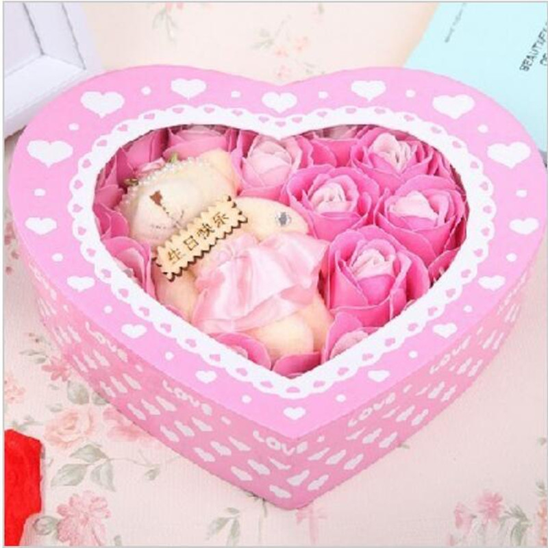 2015 New Hot Sale Blue Invitations Gift In Return Sent Girls Close Friend Birthday For Creative Handmade Soap Flower Rose Box Party Favors From Home