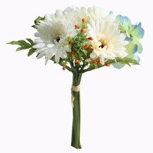 LINMAN 10 Bouquets  cute silk daisy artificial decorative flower wedding bouquet home room table decoration free shipping