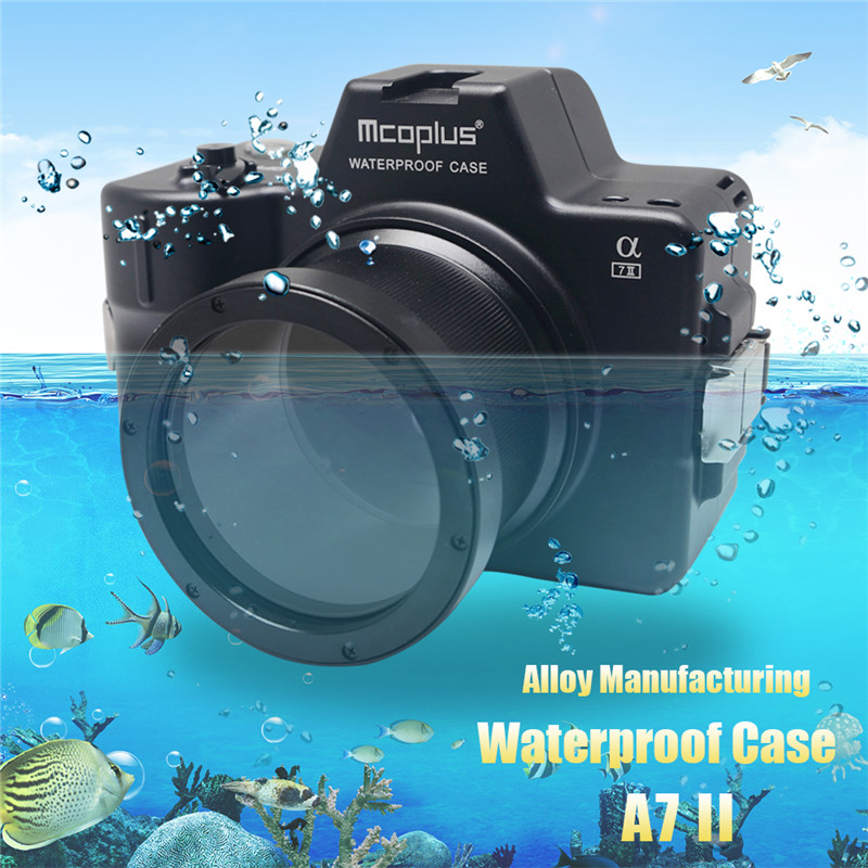 Mcoplus for Sony A7II A7 Mark II Camera Waterproof Case 100M/325ft Alloy Manufacturing Underwater Camera Diving Housing Bag 40m 130ft waterproof underwater camera diving housing case aluminum handle for sony a7 a7r a7s 28 70mm lens camera