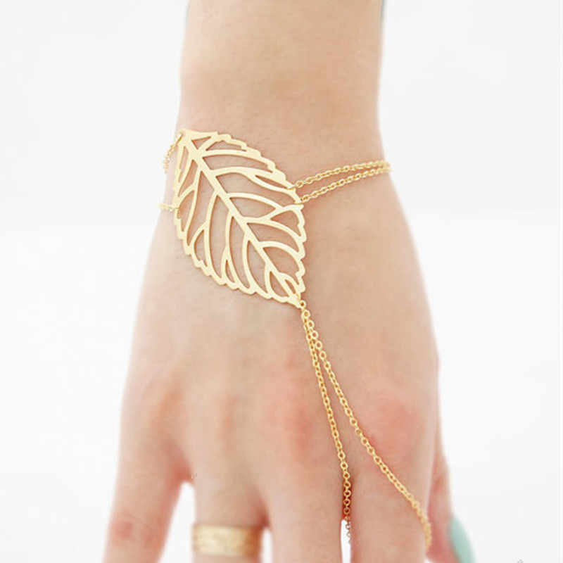 New Fashion Leaf Bracelet Simple  Gold Color Silver Color Hollow Chain Bracelet Leaf Accessories For Women jewelry Wholesale