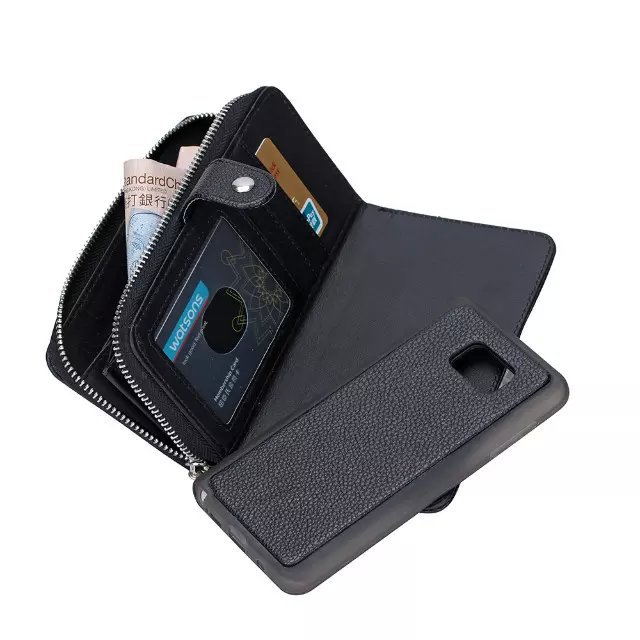 check out 3adf1 b0701 US $10.92 5% OFF|Detachable Cover PU Leather Note 5 Wallet Case For Galaxy  Note 4 Purse Bag Strap Card Slot Zipper Pouch For Samsung Galaxy S4 S5-in  ...