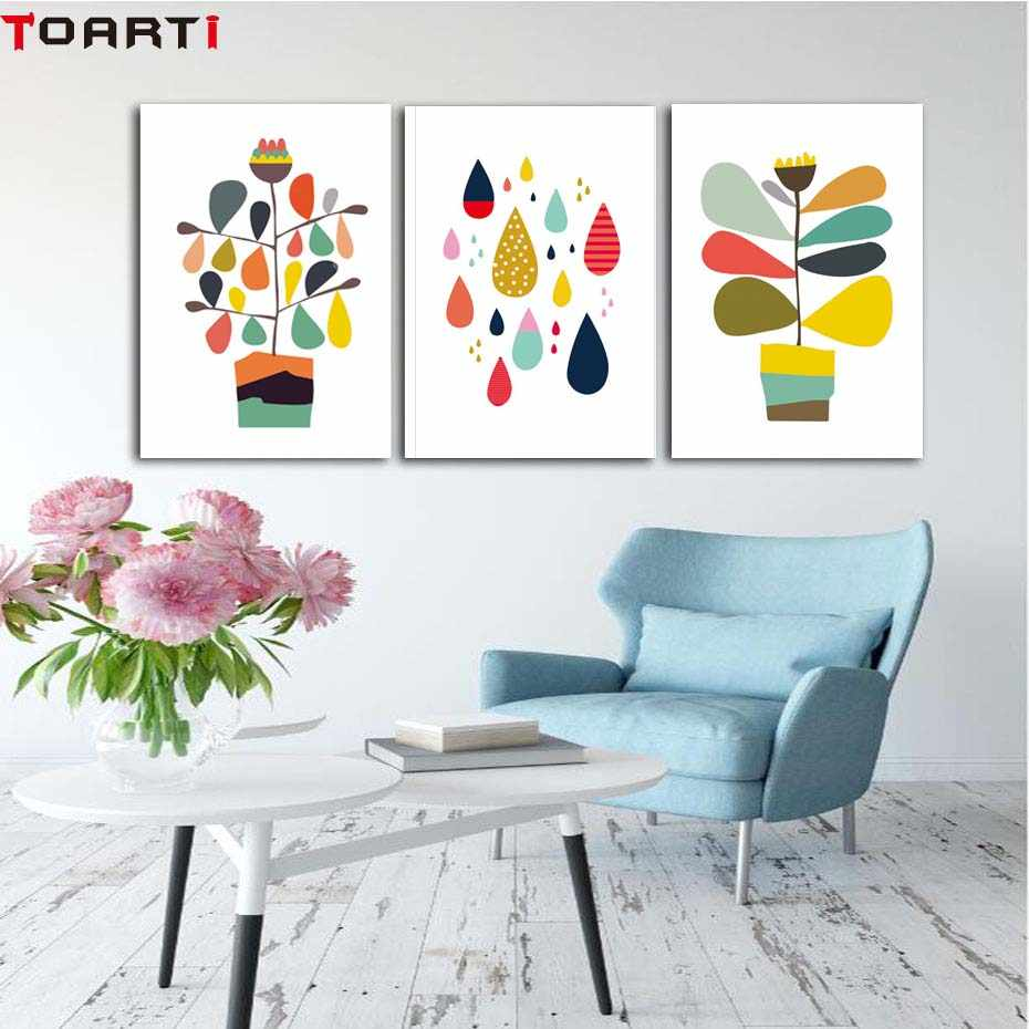 Color Drop Flower Pot Abstract Poster Modern Canvas Painting Wall Decals Art Prints Modular Wall Picture For Bedroom Home Decor