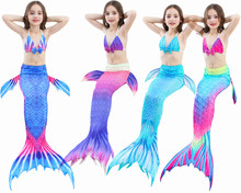 2018 NYHET! 4PCS / Set Skönhet Simning Mermaid Stjärna med Monofin Flipper Bikini Tjejer Barn Swimmable Mermaid Tail Cosplay Kostym