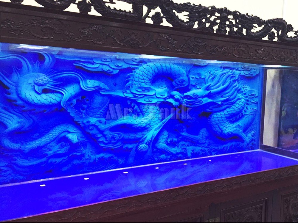 Custom Size Aquarium Background Poster With Self Adhesive Blue Relief Dragon Double Sided PVC Ocean Fish Tank Decor Landscape in Decorations from Home Garden