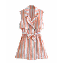 Long Suit Women's Casual Slim British Style Striped Sleeveless Vest Summer Fashion Female Office Lady Thin Jacket with Bow