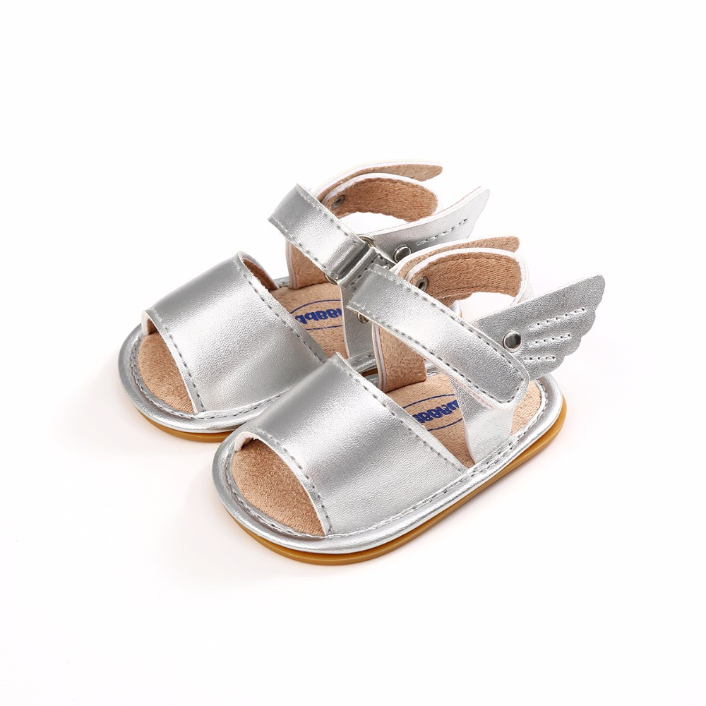 2018 New Style Infant Baby Sandals PU Wing Prewalkers Rubber Sole Anti-slip Summer Sandals Baby Boy Girl Shoes Wholesale